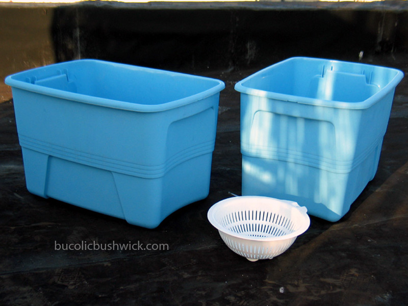 Bucolic bushwick diy self watering container and mini greenhouse from 2 storage totes basic - Diy self watering container garden ...