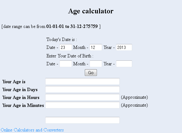 Hأداة حساب العمر Age calculator