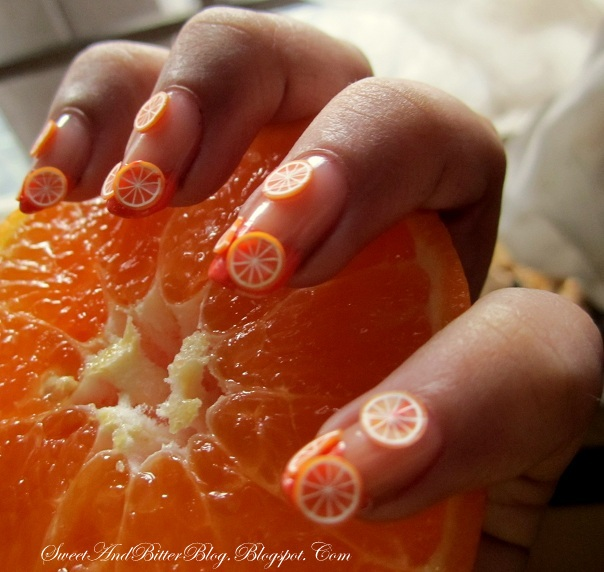 Gone oranges over you nail art with fimo clay how to slicing i got the sliced one for various colors of dragon fly but these were the first experience with the canes prinsesfo Image collections