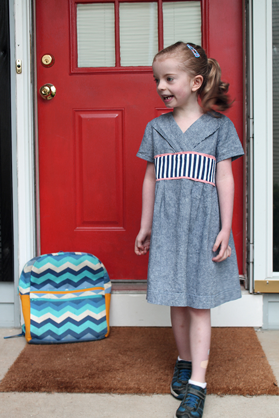 Last Day of Kindergarten in the same sewn outfit as the First Day -- Oliver + S Library Dress in Chamray | The Inspired Wren