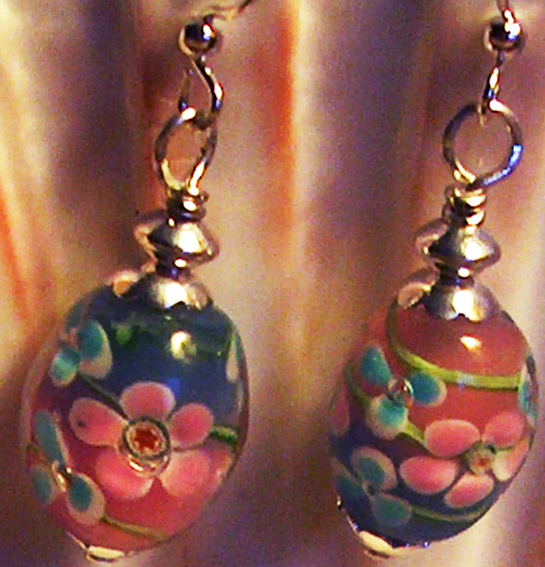 Lampwork Pink Blue Earrings Kirsten USA