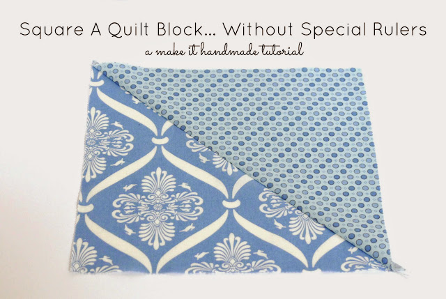 Learn to square a quilt block using any ruler and a cutting mat. No special square rulers needed!