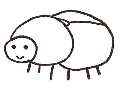 カブトムシのメスのイラスト(虫) モノクロ線画