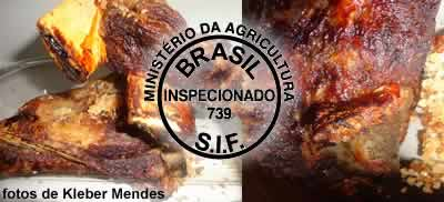 Churrasco de costela e carimbo do SIF