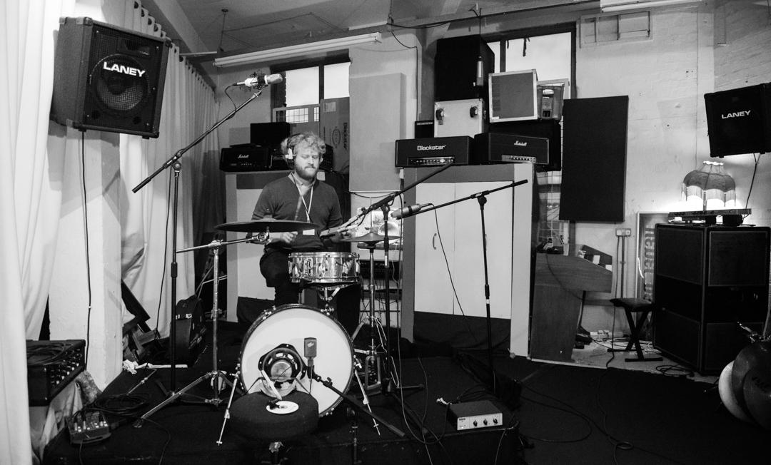 Birmingham recording studio Park Studios JQ | live room | drummer Tom Fisher