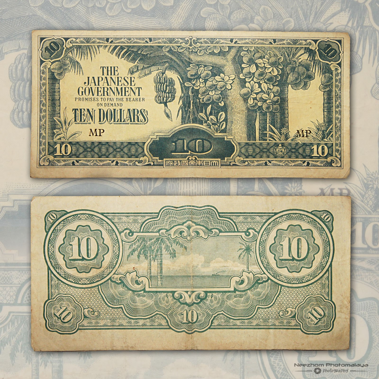 10 Dollars Japanese Occupation Malaya paper money