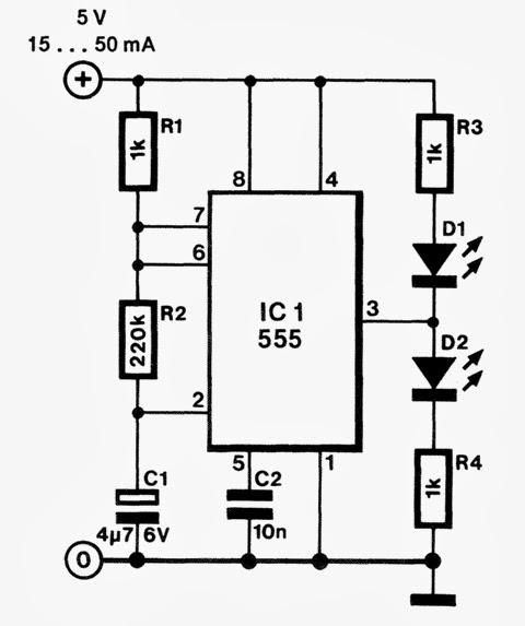 lampu led flasher dengan ic 555