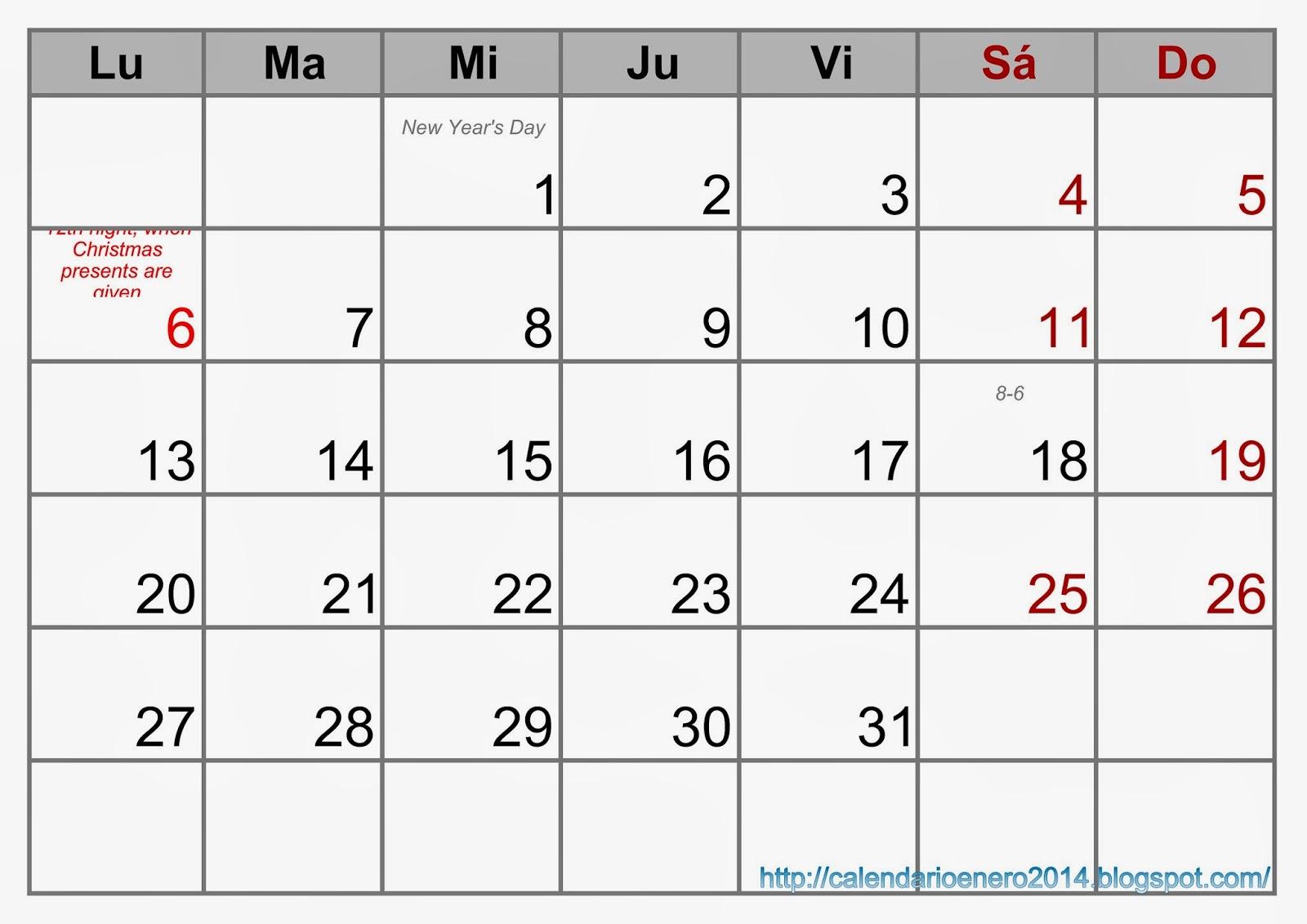 Calendario Enero 2014 Para Imprimir
