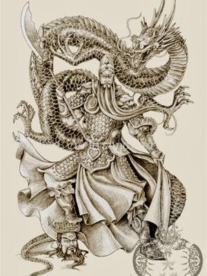 Desenhos de tatuagens de dragão com samurai