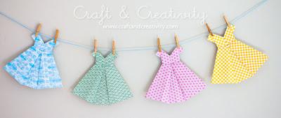 Vestido de origami para decoração