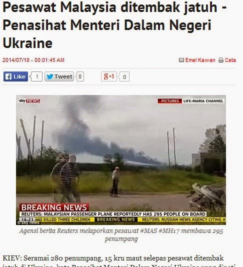 Pesawat Malaysia ditembak jatuh - Penasihat Menteri Dalam Negeri Ukraine_BH