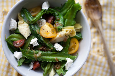 Winged Bean Salad with Crispy Shallots and Chevre