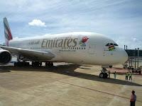 Emirates A380 in Mauritius