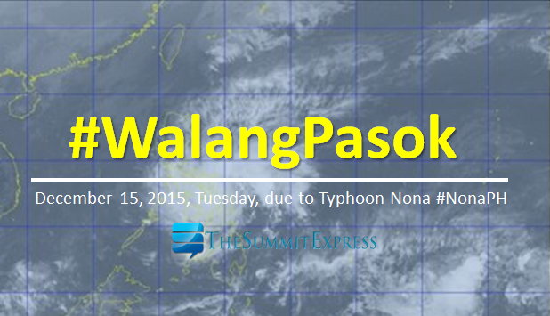 Class suspension for December 15, 2015 due to Typhoon Nona