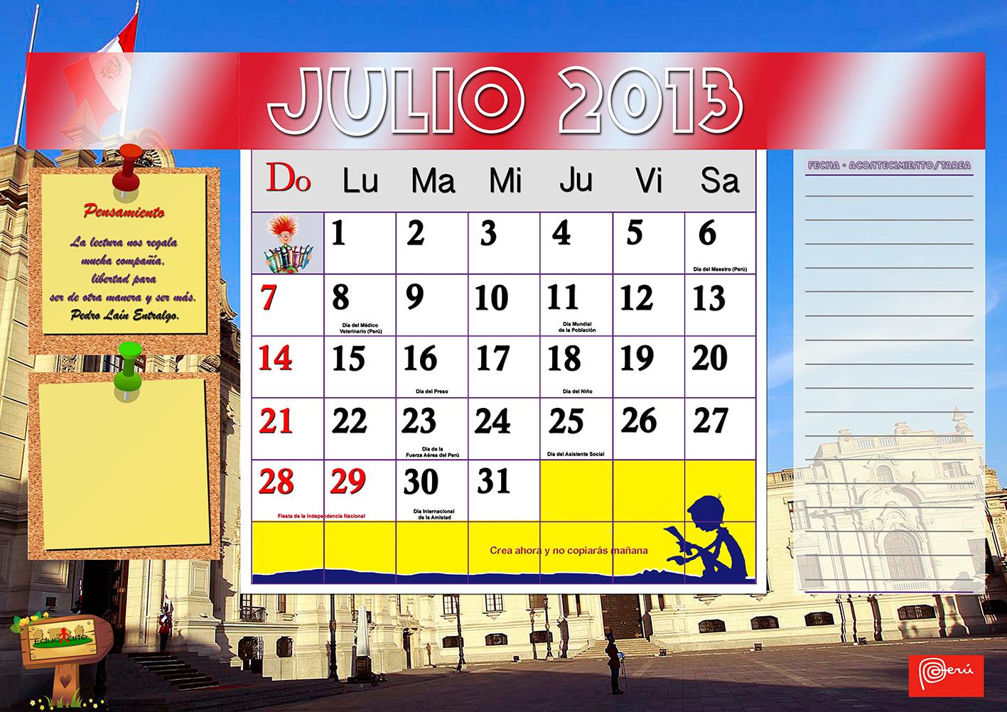 Calendario Mes de Julio 2014 Calendario Mes de Julio de