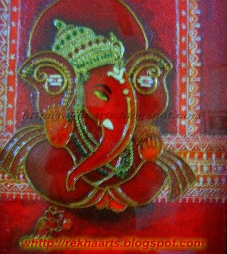 Varnaalaya my first m seal ganesha mural 39 s for Mural work using m seal