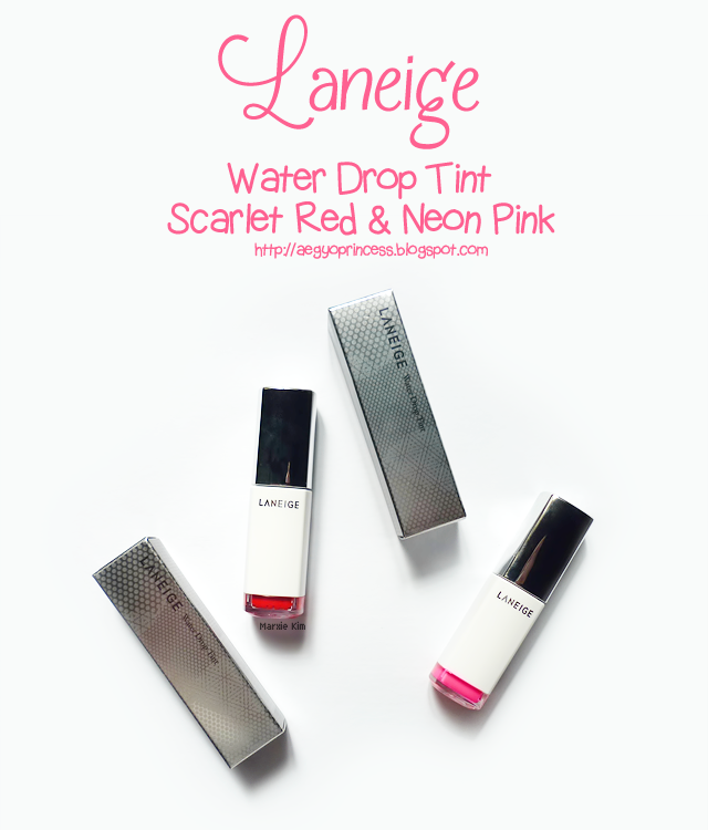 Laneige Water Drop Tint Scarlet Red and Neon Pink Review
