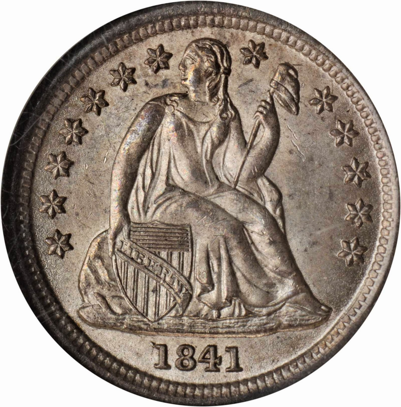 US Coins 1841 Seated Liberty Dime with Stars