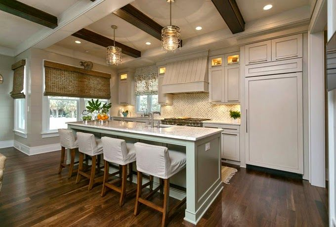 Rustic Wood Beam Over Kitchen Island
