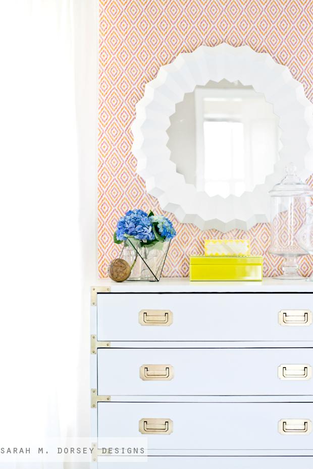 sarah m. dorsey designs: White + Brass Campaign Dresser + Game ...