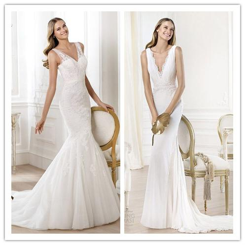 2014 v-neck wedding dress