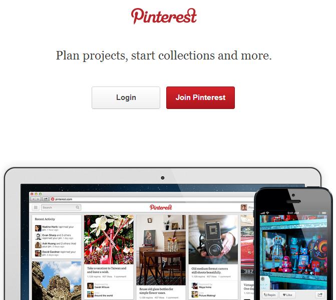 printerest redesign home page