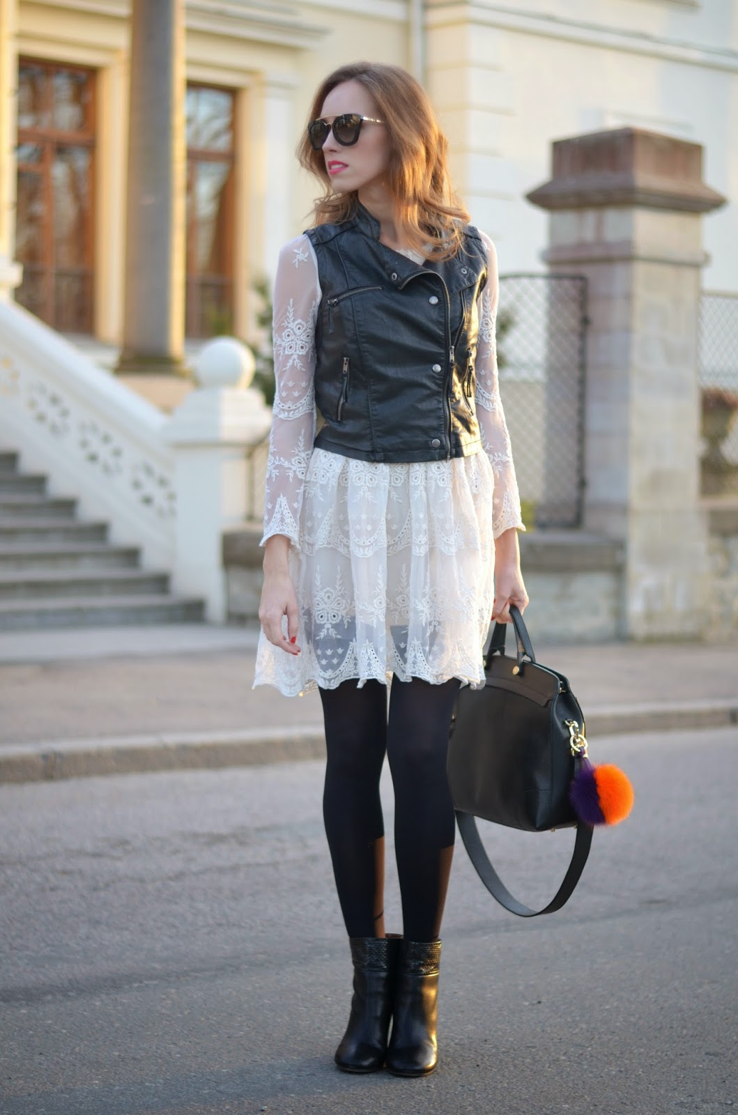 spring-outfit-lace-dress-leather-vest-black-white kristjaana mere