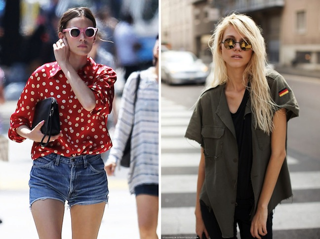 round sunglasses, street style