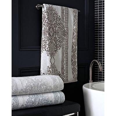Bedminster Damask Stripe Bath Towel Collection by Trump Home