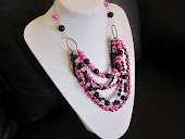 Hot Pink and Black Beaded Statement Necklace