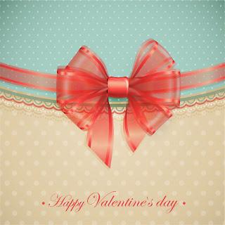 バレンタインデーのシルク リボン SILK BOW Valentine element イラスト素材