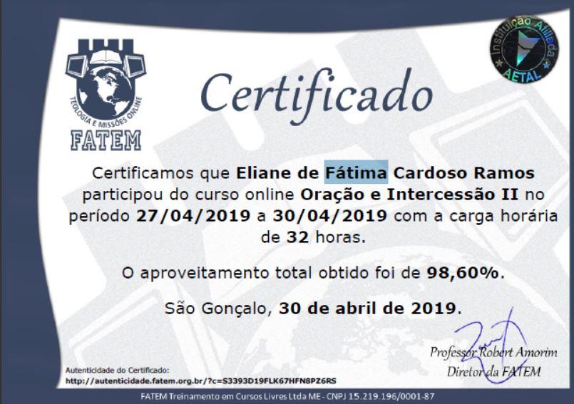 CERTIFICADO DA FACULDADE DE ORAÇÃO E INTERCESSÃO 2