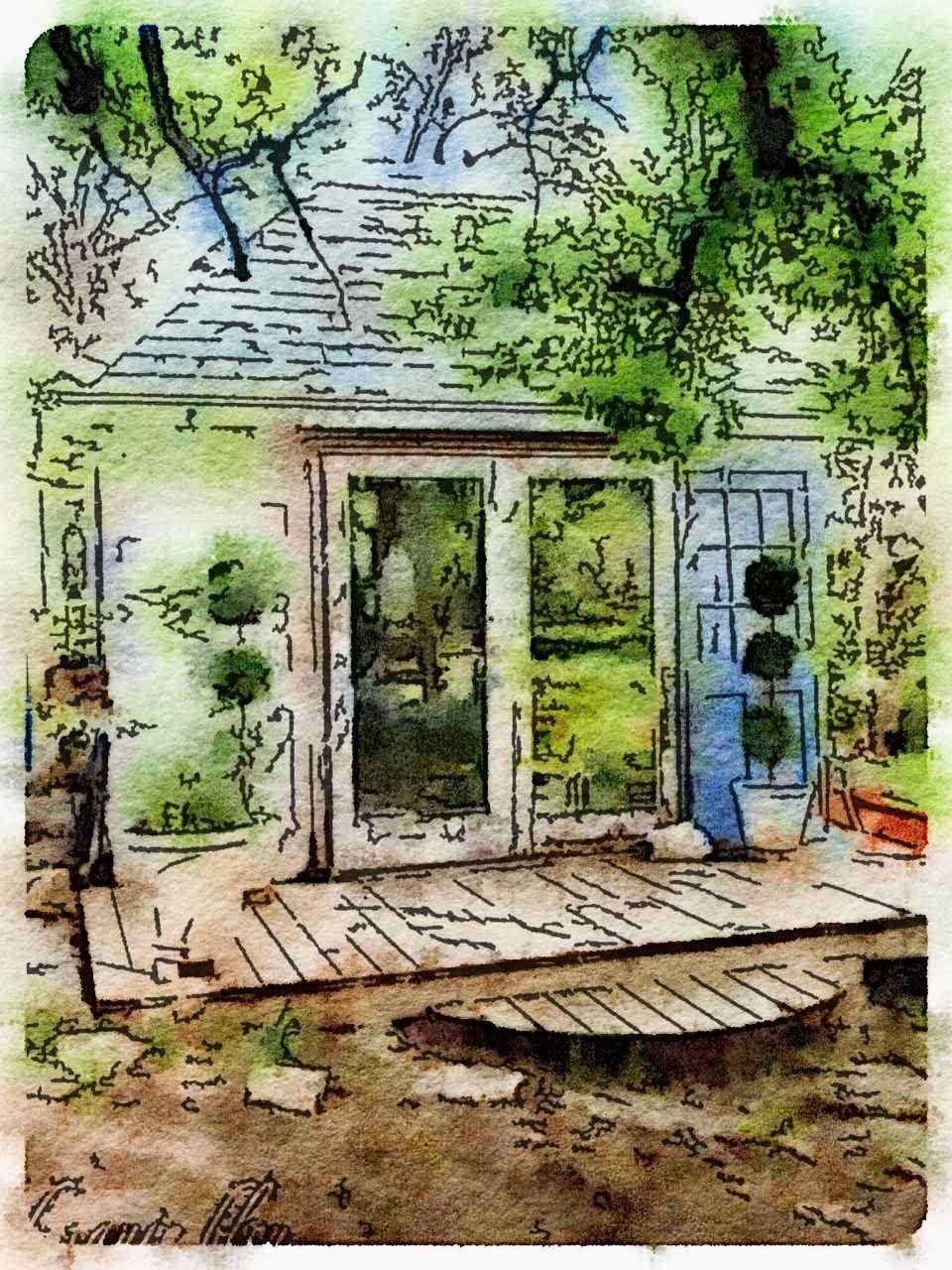 Botanic bleu watercolor garden shed for Garden shed 4 u
