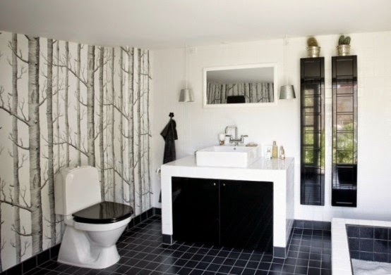 Interior Small Black White Bathroom