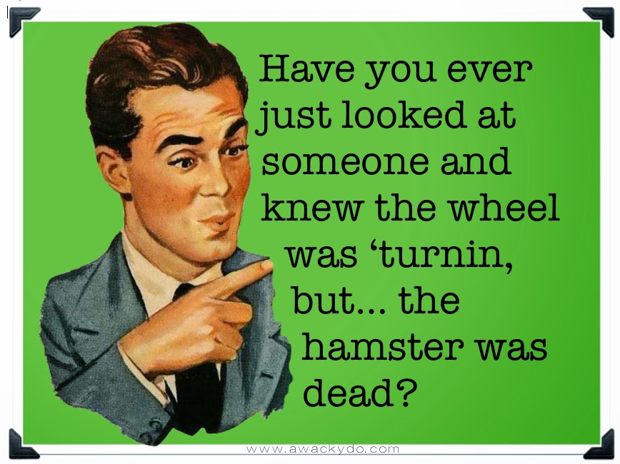 vintage image of man pointing his finger, quote; have you ever just looked at someone and knew the wheel was 'turnin but the hamster was dead?