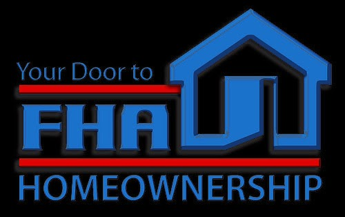 "logo in black background of FHA logo with ""Your door to homeownership"" legend"