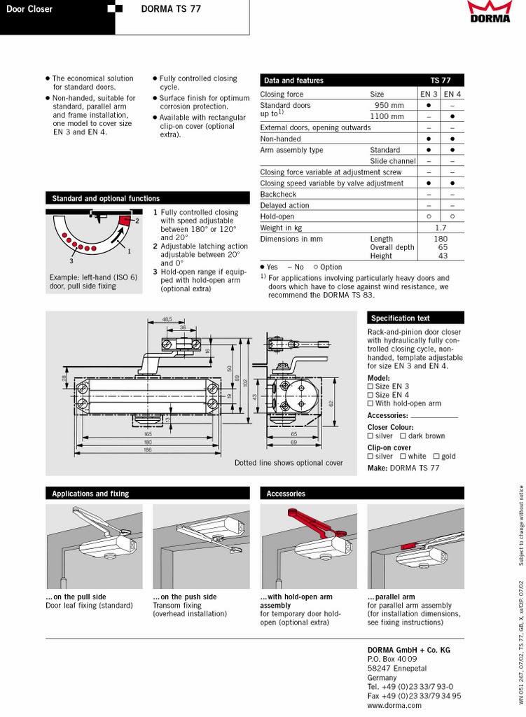 dorma ts83 adjustment instructions