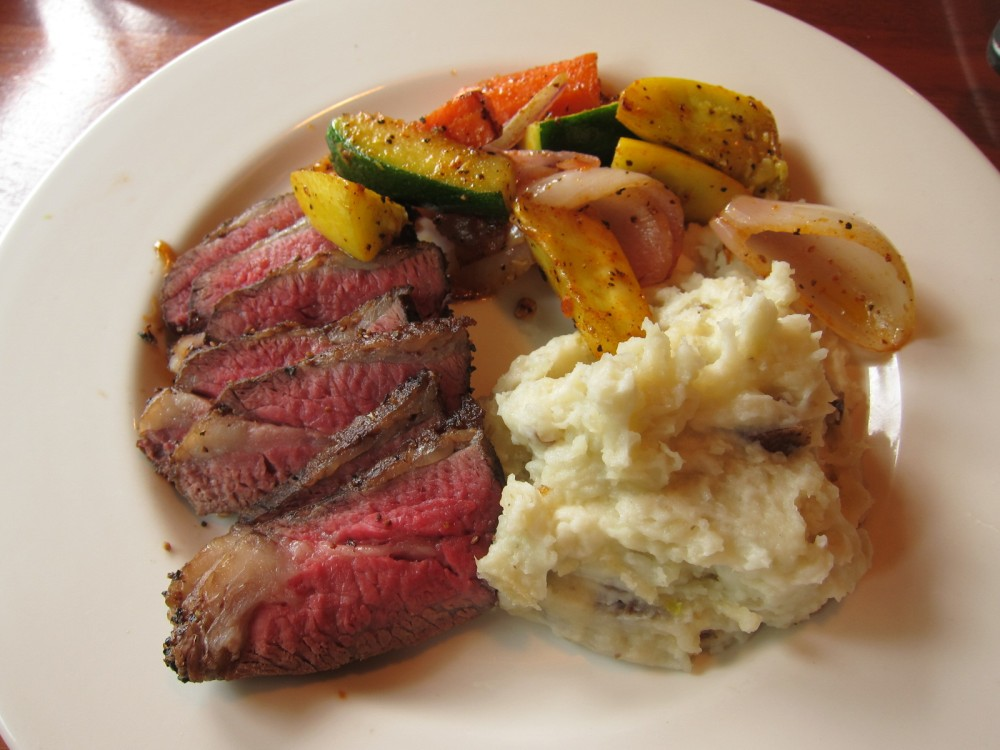 Image result for Marinated Grilled Tri-Tip Demi Glace over mashed potatoes
