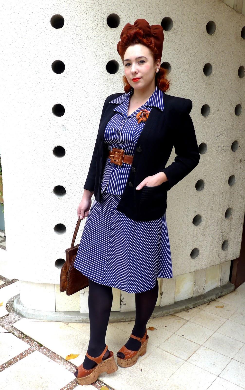 Je parlais tout récemment des robes et autres pièces 70s qui sinspirent directement des coupes des années 40, et que je porte très souvent.