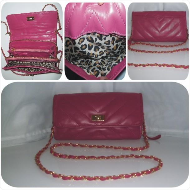 Bolsa carteira em couro liso com detalhe em matelassê: Cód.1082