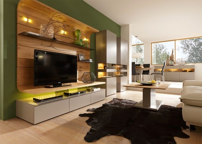 Modern Wall Units For Living Room: TV Wall Unit As A Dark Wood Decor, Olive  Green Wall Paint