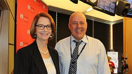 Prime Minister Julia Gillard with Steve Austin at 612 ABC Brisbane