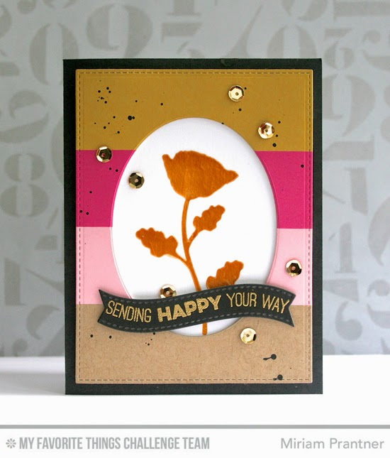 Sending Happy Card by Miriam Prantner using the Totally Happy stamp set, Lisa Johnson Designs Wildflowers stencil, and Oval STAX Set 2 Die-namics