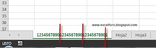 Limitaciones para los nombres del archivo y de las hojas de Excel.