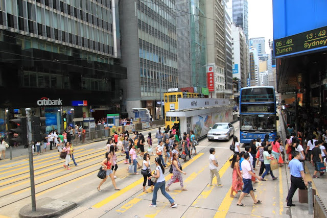 Busy streets in Central, Hong Kong
