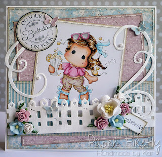Summer birthday card in pink and blue