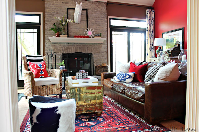 red walls living room