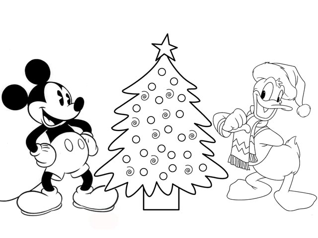 Disney coloring pages mickey mouse and donald duck make for Mickey mouse coloring pages christmas
