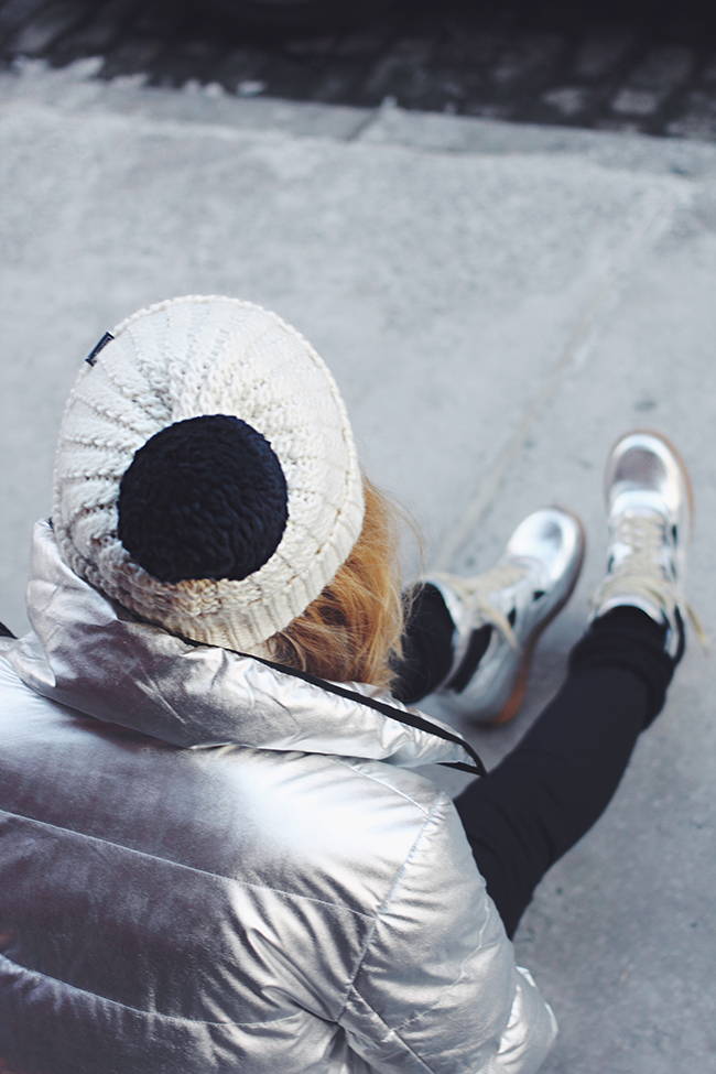 """Like A Spacewoman"" by Victoria of ""The Wind of Inspiration"" #twoistyle #style #fashion #personalstyle #fashionblog #ootd #outfit #outfitoftheday #wedgesneakers #pufferjacket"