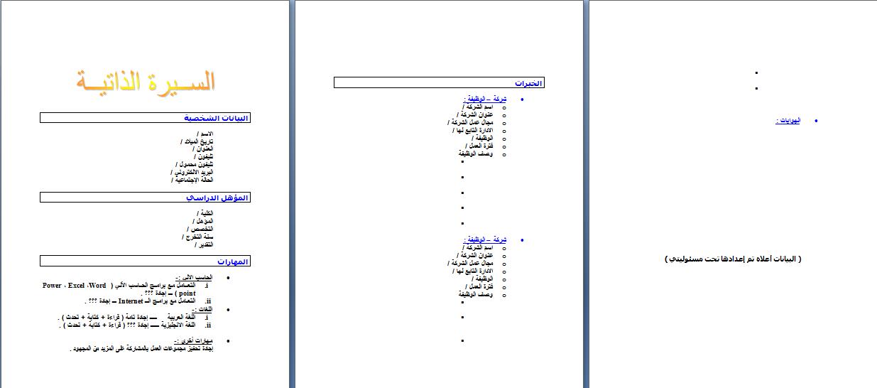 modele cv en arabe